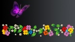 Обои Фон с яркими цветами и бабочкой