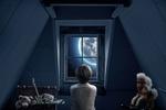 Обои Мальчик в мансарде наблюдает за луной в окне, by Myriam