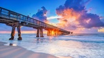 Обои Пирс в городе Помпано-Бич / Pompano Beach на закате солнца, США / USA