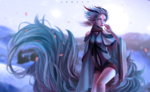 Обои Белокурая девушка демон, by Laelly-EL