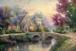 Обои Мост через речку возле дома с цветущим садом, by Thomas Kinkade