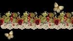 Обои На черном фоне кружева, розы и бабочки