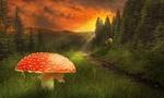 Обои Огромный гриб мухомор на фоне леса и гор