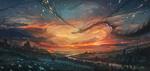 Обои Человек на лошади смотрит на летающего дракона в небе, by Nik-Moskvin