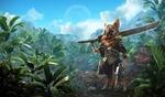 Обои Профессиональный кот - убийца с большим мечом стоит в джунглях