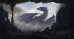 Обои Огромный крылатый дракон рядом со средневековым замком построенном в пещере