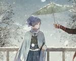 Обои Yamato No Kami Yasusada / Ямато но Ками и Kashuu Kiomitsu с зонтом на мосту зимой в снегопад, из игры Touken Ranbu / Танец мечей