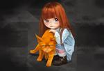 Обои Девочка с рыжим котом