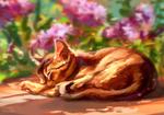 Обои Рыжий котенок спит на земле около цветов, by AlaxendrA