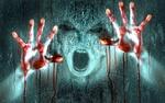 Обои Страшный кричащий монстр с окровавленными руками за стеклом
