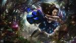 Обои Алиса / Alice с окровавленными ножами бежит по лесу, персонаж игры Алиса: безумие возвращается / Alice: Madness Returns, by Omri Koresh