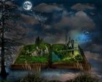 Обои Открытая книга с замком на фоне природы под полной луной в ночном небе, by Ivan Tamas