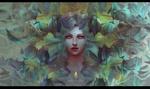 Обои Портрет мистической девушки среди цветов, by Mady Madnoliet