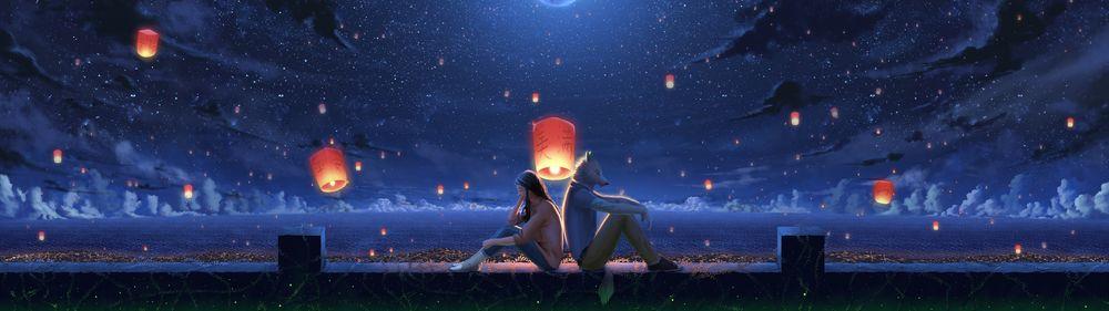Обои для рабочего стола Девушка и парень-волк слушают музыку, сидя возле моря на фоне ночного неба и парящих в нем фонариков