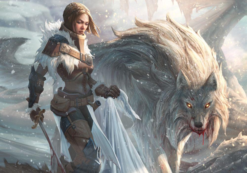 Обои для рабочего стола Arya Stark / Ария Старк с волчицей Nymeria / Нимерией, арт к сериалу Game of thrones / Игра престолов, by StuArtStudios