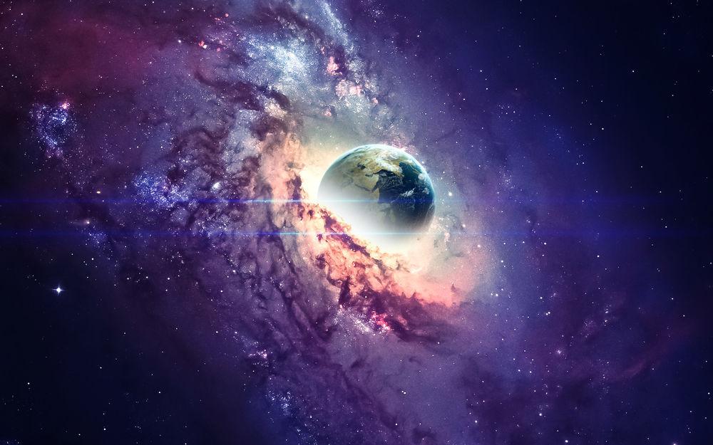 Обои для рабочего стола Планета в центре космической туманности, by Vadim Sadovski
