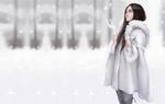 Обои Девушка в белом манто любуется падающим снегом, by Maou Renjishi