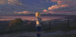 Обои Девочка с кошкой стоит на фоне города