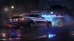 Обои Серебянный BMW под дождем в городе