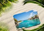 Обои Курортная открытка на песке в обрамлении пальмовых ветвей, летняя композиция, by Dorothe