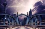 Обои Мост, ведущий к небоскребам, под грозовым небом, by Heather Plew