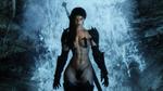 Обои Воительница Vivienne / Вивьен стоит на фоне водопада, персонаж игры The Elder Scrolls V: Skyrim / Древние свитки 5: Скайрим, by UnitedStrafes