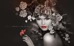 Обои Девушка с венке из весенних цветов с бабочкой на руке