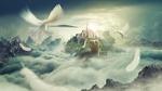 Обои Голуби, летящие к замку, который стоит на гигантской черепахе, by Peter Pang