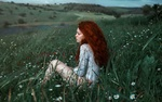 Обои Девушка с рыжими волосами сидит в траве с ромашками и другими полевыми цветами. Фотограф Adi Dekel
