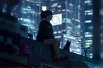 Обои Девушка с кошкой сидит на крыше дома, by GUWEIZ