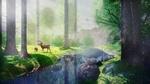 Обои Олениха с маленьким олененком среди высоких деревьев у реки, by IkyuValiantValentine