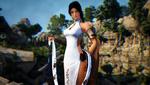 Обои Девушка-воин Lahn / Лан в белом платье, арт к игре Black Desert / Черная Пустыня, by UnitedStrafes
