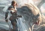 Обои Arya Stark / Ария Старк с волчицей Nymeria / Нимерией, арт к сериалу Game of thrones / Игра престолов, by StuArtStudios