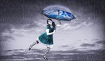 Обои Девушка с зонтиком под дождем, by Ibrahim Ibne Omar