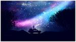 Обои Парень стоит на машине на фоне ночного неба с северным сиянием, by Gene Raz von Edler