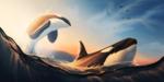 Обои Две касатки в море, by Ciorano