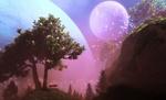 Обои Дерево на фоне фантастического пейзажа, на котором планета и луна