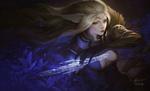 Обои Эльфийка Mothianna / Мотианна с алмазным мечом, by Dao Le Trong