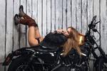 Обои Модель Анастасия Щеглова на мотоцикле, фотограф Алексей Сулима