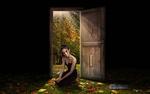 Обои Девушка сидит у открытой двери, за которой начинается осень, by Carlos Atelier2
