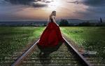Обои Девушка в красной юбке стоит на железной дороге, by Carlos Atelier2