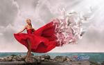 Обои Девушка в красном платье с разлетающимися голубями, by Carlos Atelier2