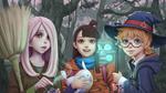 Обои Atsuko Kagari / Ацуко Кагари, Sucy Manbavaran / Сюси Манбаваран и Lotte Yansson / Лотта Янссон из аниме Little Witch Academia / Академия ведьмочек, by Apegrixs