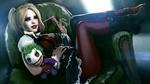 Обои Harley Quinn / Харли Квин держит куклу Джокера / Joker, сидя в кресле и наматывая на палец жвачку, персонажи из DC Comics