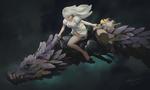 Обои Девушка летит верхом на драконе, удерживая кошечку за лапку от падения, by Dao Le Trong