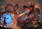 Обои Битва девушек-кошек MiqoTE против монстра Salamander / Саламандры, арт к игре Final Fantasy XIV / Последняя фантазия 14, by cutesexyrobutts