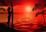 Обои Силуэт девушки, стоящей с доской для серфинга на берегу океана, на закате, by InspiredImages