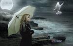 Обои Девушка с зонтом стоит на фоне моря перед голубем, by Carlos Atelier2