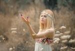 Обои Девушка стоит в поле и смотрит на бабочек, сидящих у нее на ладони