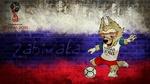 Обои Волк Zabivaka / Забивака-Символ чемпионата мира по футболу 2018, на фоне цветов флага России
